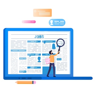 オンライン求人検索。画面上の新聞とノートパソコン
