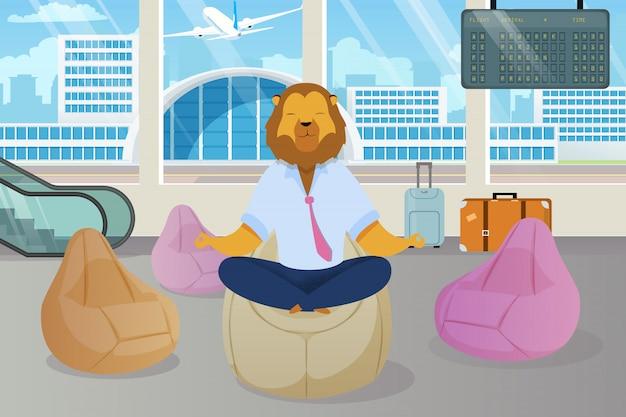 ライオンヘッド瞑想クリップアートとオフィスワーカー