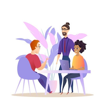 ビジネス人々のグループブレインストーム会話