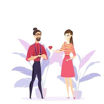 フラットイラスト女の子が愛若い男を告白