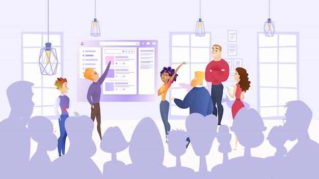 フラットグループの従業員が共同でプロジェクトを発表