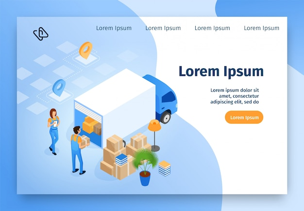 Доставка, переезд сервис изометрические вектор сайт