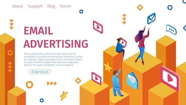 バナーメール広告フラットベクトル図。