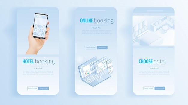 Онлайн бронирование номеров в отеле баннеры иллюстрация