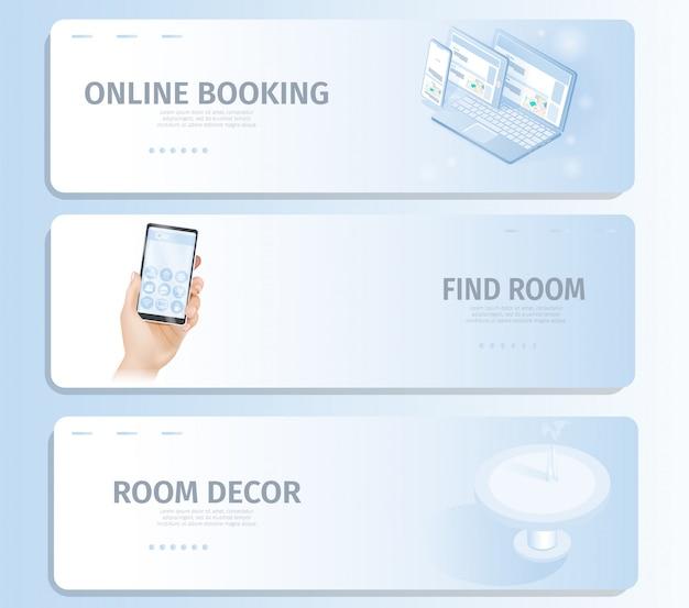 オンライン予約部屋の装飾を探すバナーランディングページ