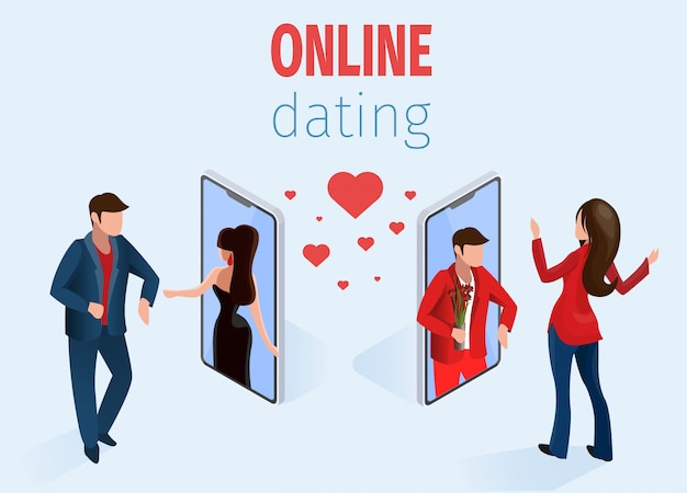 電話オンラインデートアプリのコンセプトの近くの女性男性