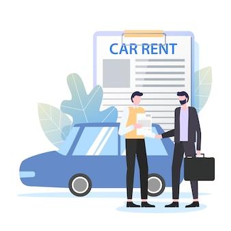 ビジネスマンの賃貸車契約ディーラーベクトルイラスト。レンタルサービス旅行
