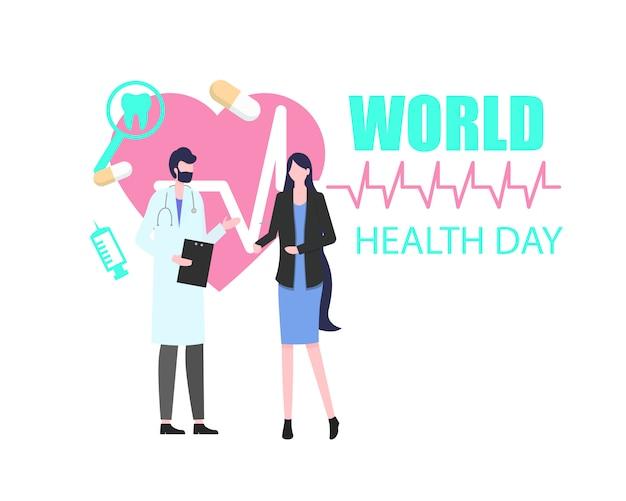 Всемирный день здоровья женщина пациент с мужчиной доктор векторные иллюстрации