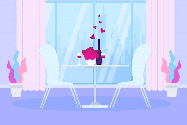 ロマンチックディナーレストランテーブルワインボトルグラス