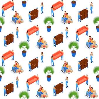 ポーターキャリー家具のシームレスパターン