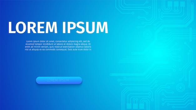 Абстрактный футуристический цифровой синий неоновый баннер