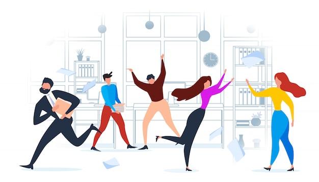 漫画の人々がオフィスで走る