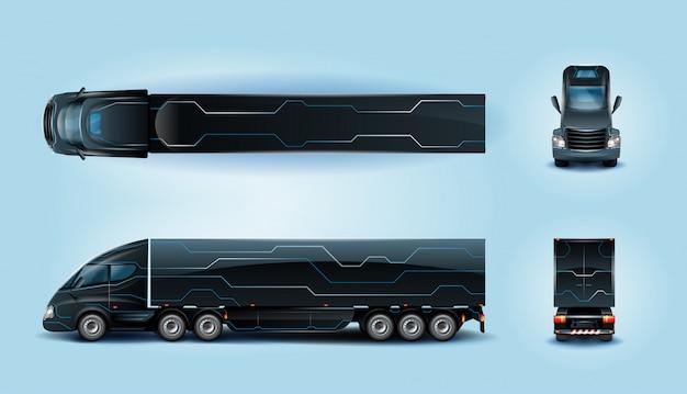 ロングホイールベースの未来的な大型貨物トラック