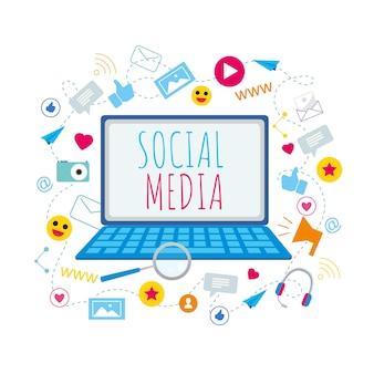 ノートブック画面上のソーシャルメディアのシンボル
