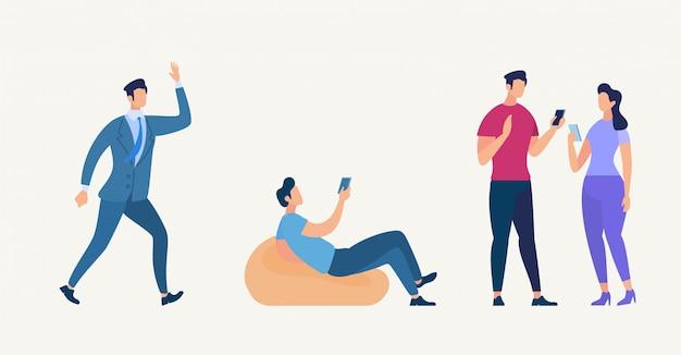 チームワークの概念。人キャラコミュニケーション