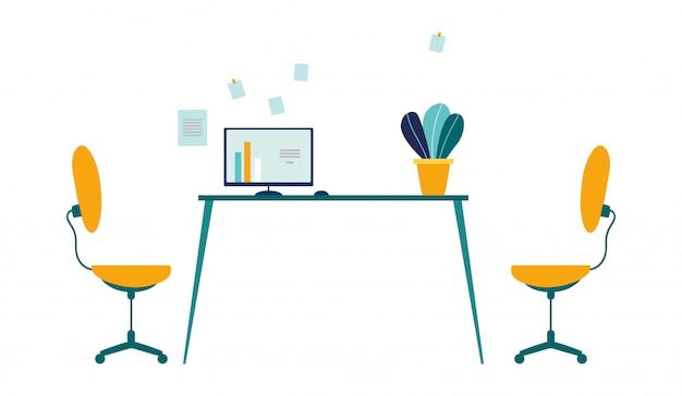 Удобное рабочее место в современном офисе мультфильма. два рабочих кресла