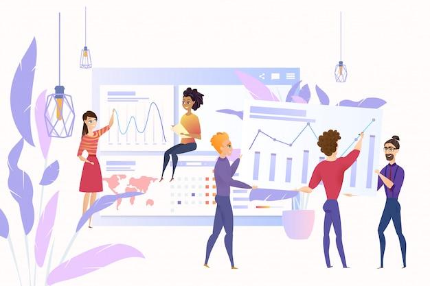 ビッグデータの分析漫画ベクトル概念ビジネス
