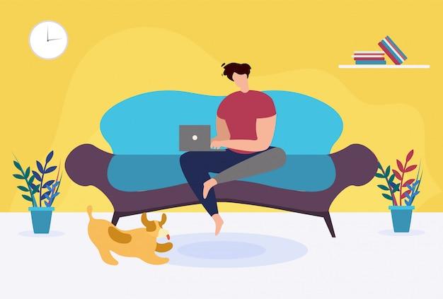 Человек с ноутбуком, сидя на диване мультфильма. фрилансер, работающий дома