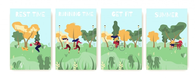 夏の屋外レクリエーションフラット漫画カードセット。フィットする