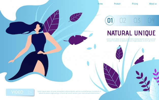 広告テキストのための場所で自然なユニークなフラットランディングページ