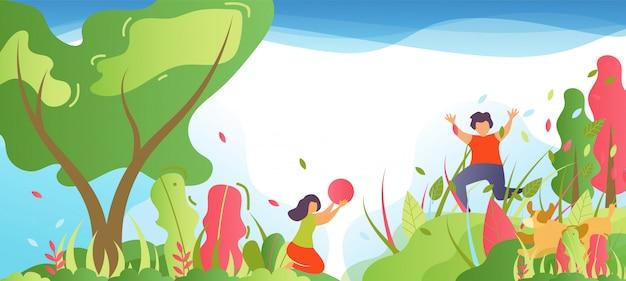 公園や森の漫画で楽しんでいる子供たち