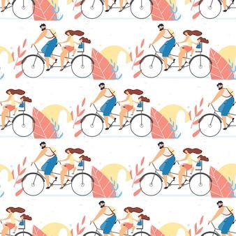 タンデム自転車で家族と一緒に平らなシームレスパターン