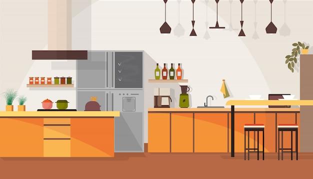 広々としたキッチンのインテリアデザイン