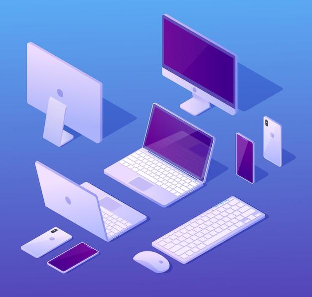Компьютерные цифровые устройства изометрические векторы набор