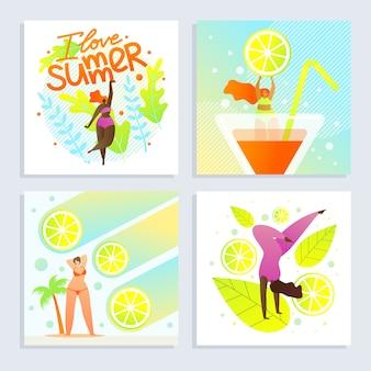 Набор плакатов я люблю лето надпись мультфильм квартира