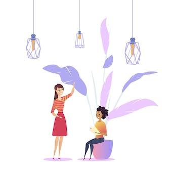 女性職場ロフト現代植物コワーキング