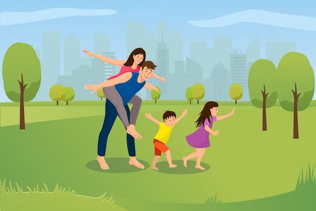 若い家族の屋外レジャー漫画ベクトルの概念