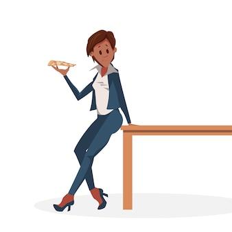Женский персонаж с ломтиком пиццы на столе