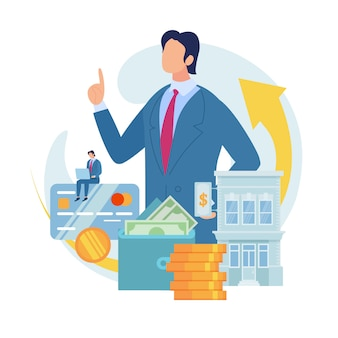 Банковский кредит для малого бизнеса плоский векторный концепт