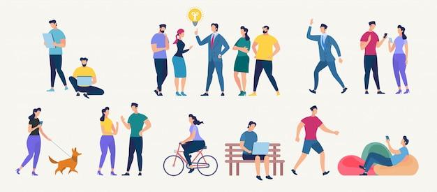 Социальная сеть и коллективная работа векторный концепт.