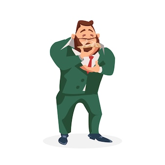 Мужской персонаж в костюме запах кусочка вкусной пиццы