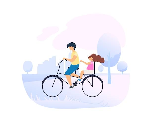 Брат ведет маленькую сестру на велосипеде в городском парке.