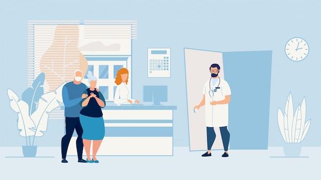 医者のオフィスでのバナー病気高齢者カップル。