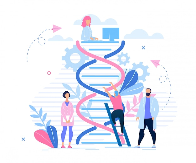 情報ポスター遺伝的研究漫画。