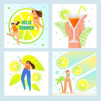 こんにちは夏、ビーチパーティー、新鮮な飲み物メニューセット