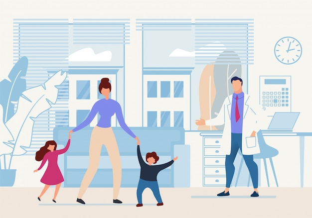 Яркий баннер детский доктор мультфильм квартира.