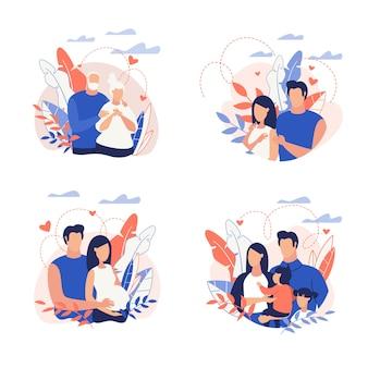 Семейная иллюстрация мультфильм плоский набор