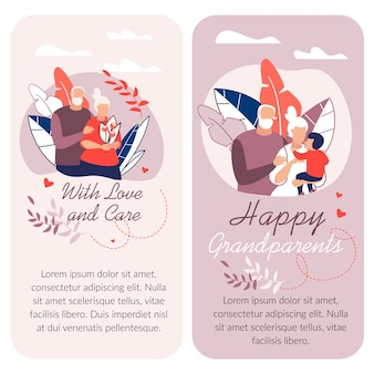 幸せな祖父母の日、テキストテンプレートと漫画イラスト