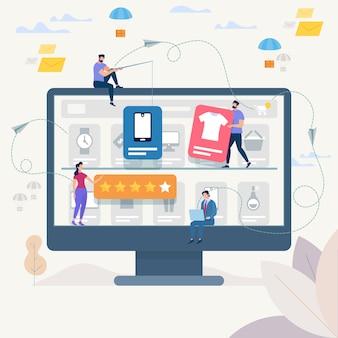 オンラインショッピングとネットワークベクトルイラスト