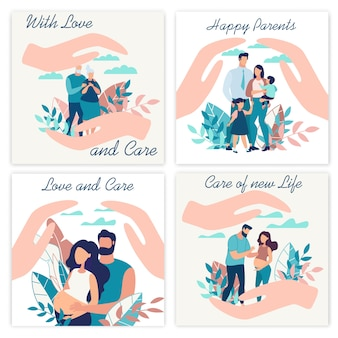 愛と注意を払って広告ポスター碑文。