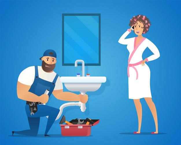 Иллюстрация концепция сантехник сервис