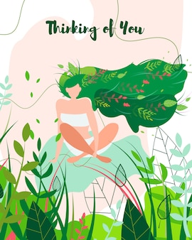 Думая о вас поздравительная открытка, девушка на природе.