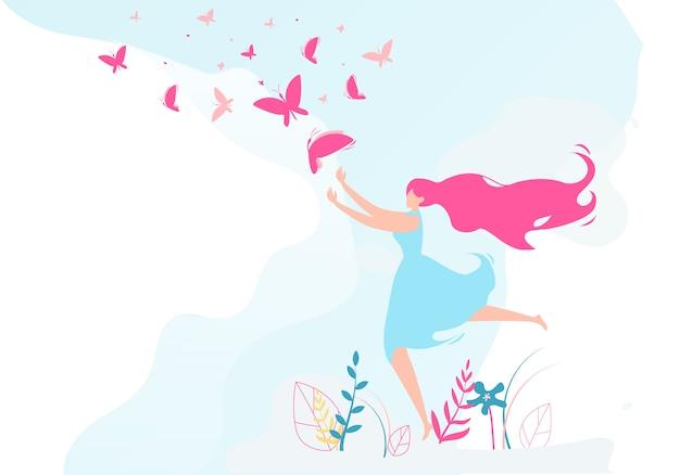 Красивая девушка ловить бабочку с крыльями.