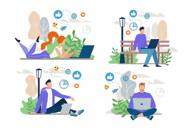 フリーランサー、ブロガーのオンライン作業、ネットワーキングセット