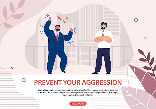 Информационный плакат предотвратите вашу агрессию плоский веб-шаблон