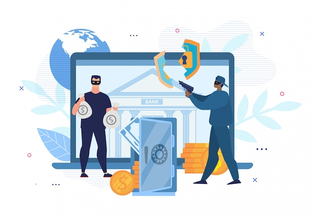 デジタル犯罪、ハッキング、電子銀行口座攻撃